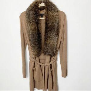 Camel Faux Fur Shawl Collar Belted Cardigan Med